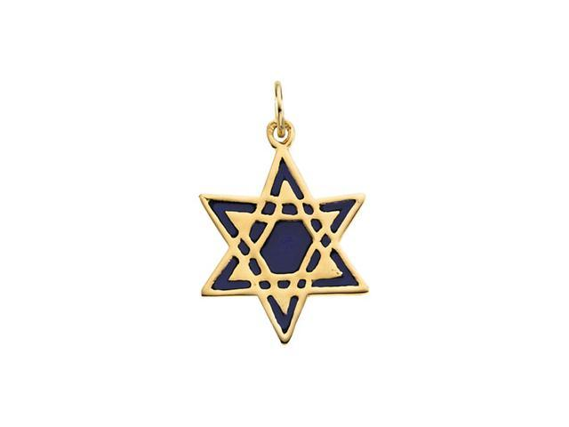 14K Yellow Gold Star Of David With Blue Enamel 19.25X16.75 Mm