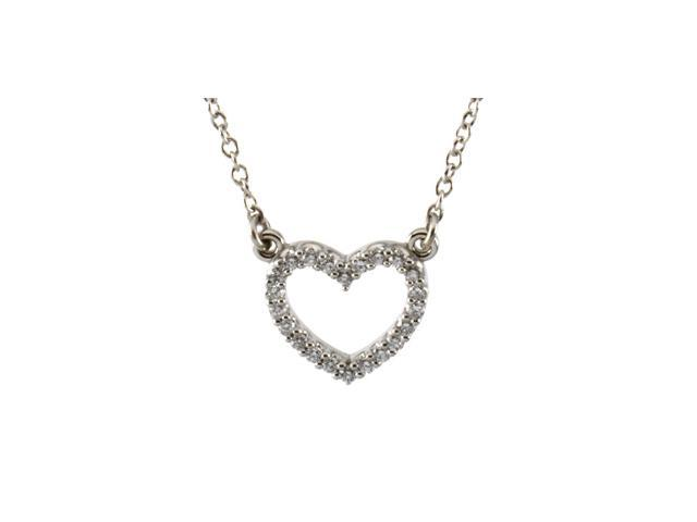 Platinum Diamond Heart Necklace 1/8 Ct Tw