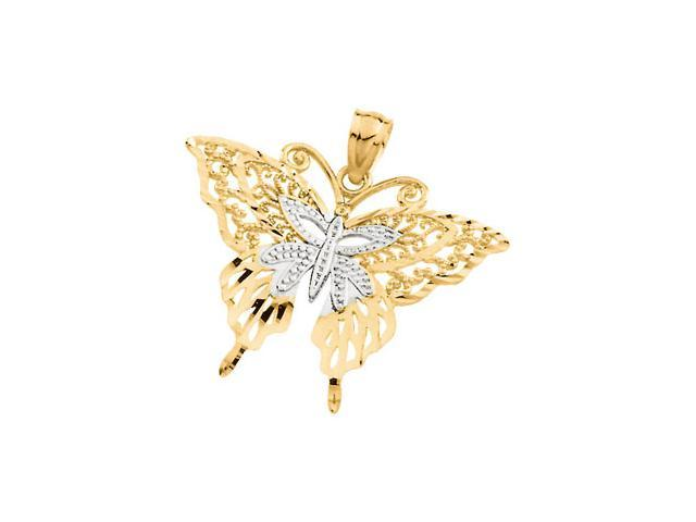 14K Yellow/White Gold Two Tone Butterfly Pendant