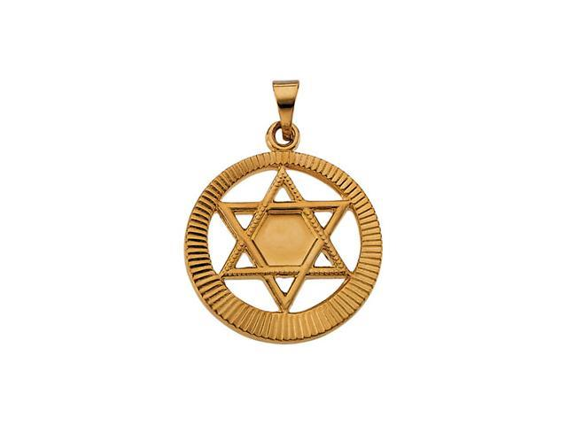 14K Yellow Gold Star Of David Pendant  2.3