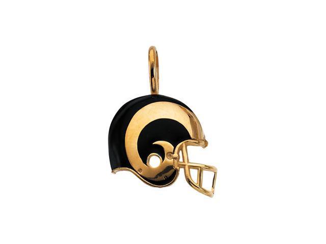 14K Yellow Gold St Louis Rams Helmet Pendant W/Enamel    3.2