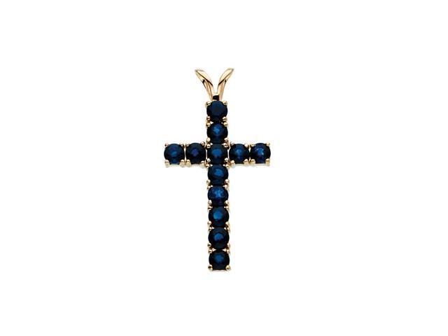 14K Yellow Gold Cross Pendant W/Sapphire