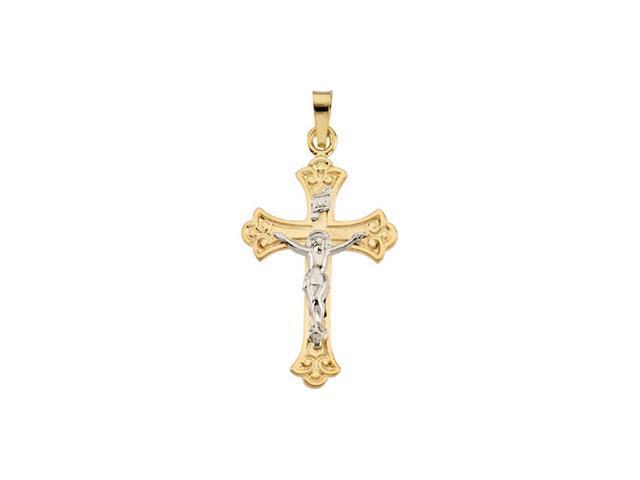 14K Yellow Gold Two Tone Crucifix Pendant