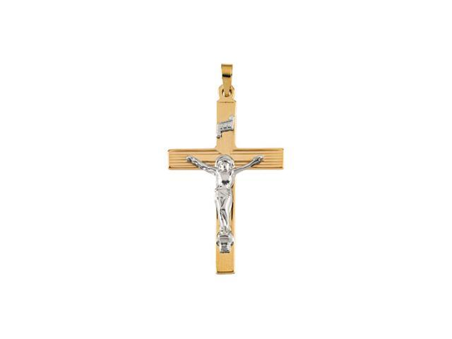 14K Yellow/White Gold Two Tone Crucifix Pendant  3.3