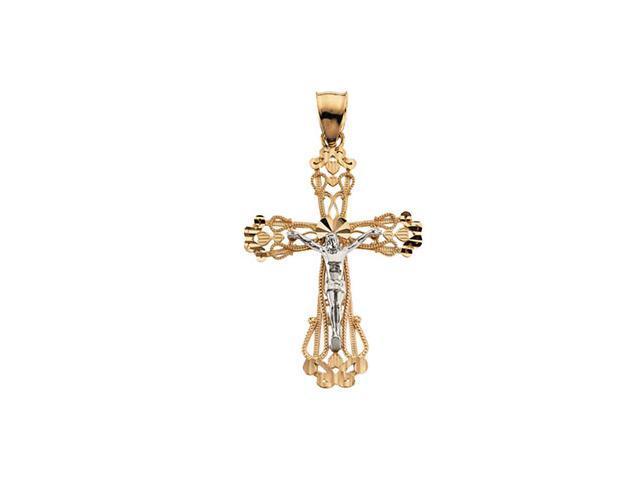 14K Yellow/White Gold Two Tone Crucifix Pendant  6.3