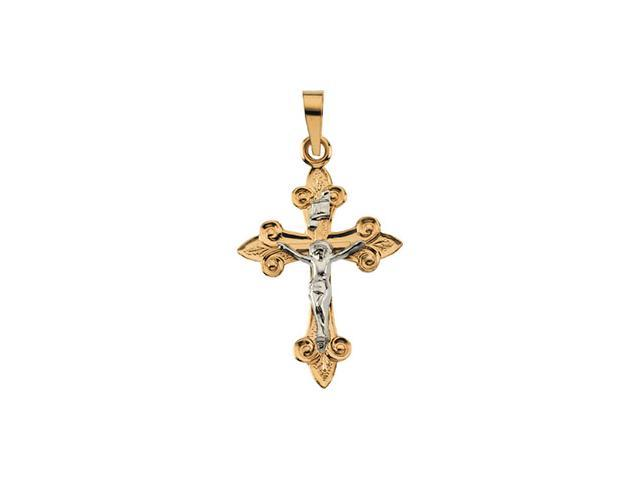 14K Yellow/White Gold Two Tone Crucifix Pendant   0.9