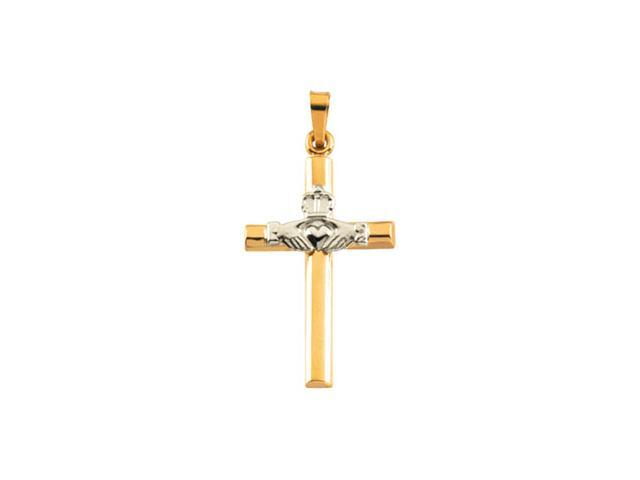 14K Yellow/White Gold Two Tone Claddagh Cross Pendant