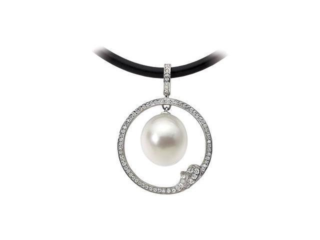 18K Palladium White South Sea Cultured Pearl And Diamond Pendant  6.2