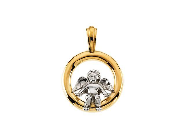14K Yellow/White Gold Two Tone Angel Pendant  3.8