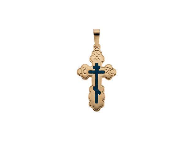 14K Yellow Gold Orthodox Cross Pendant W/Blue Inlay  2.2
