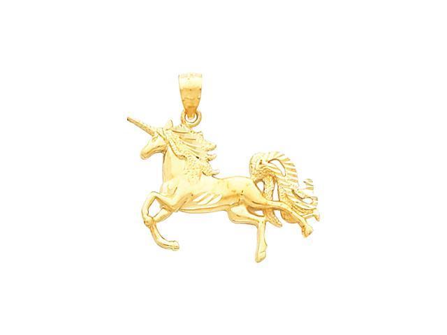 14K Yellow Gold Unicorn Pendant  1.9
