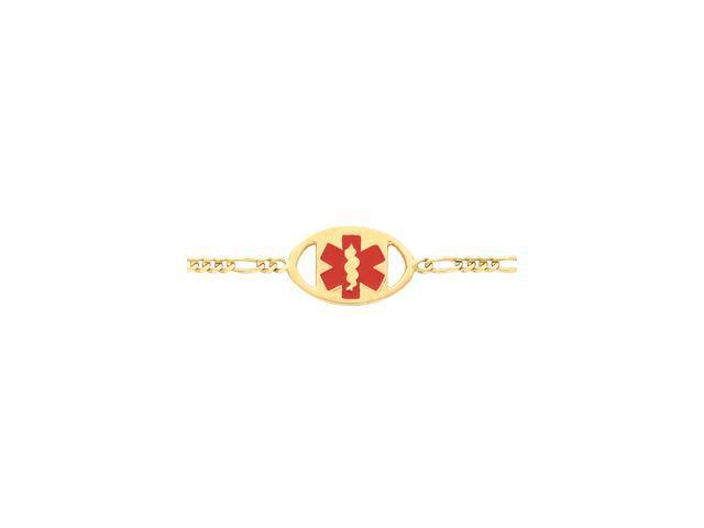 14K Yellow Gold Oval Medical Id Brc W-Figaro 7 Inch