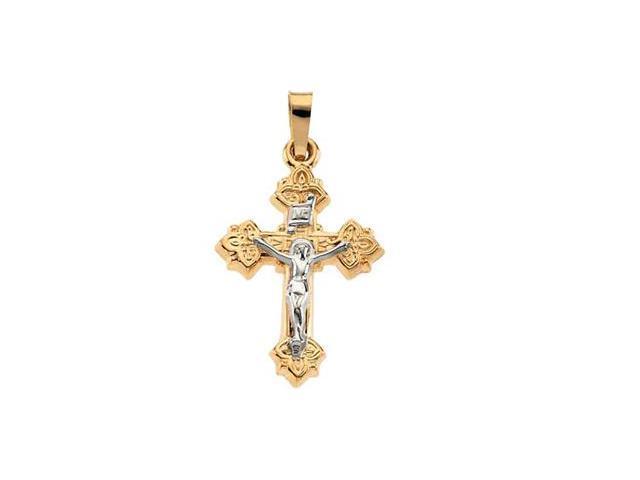 14K Yellow/White Gold Two Tone Crucifix Pendant  4.2