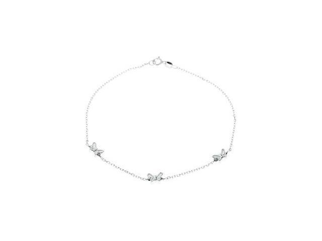 Sterling Silver Anklet W/Butterflies10. 0 0 Inch