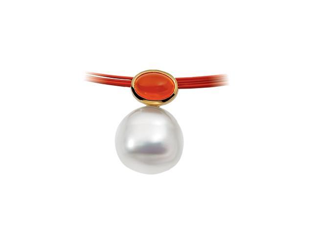 14K Yellow Gold South Sea Cultured Pearl& Genuine Carnelian Pendant