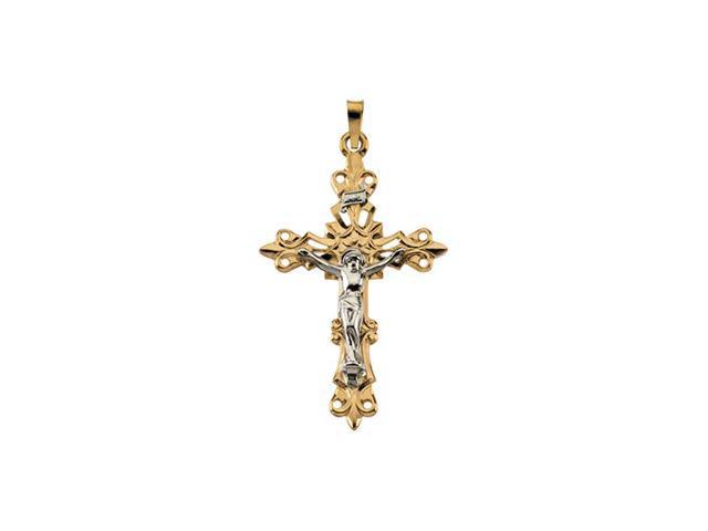 14K Yellow/White Gold Two Tone Crucifix Pendant  2.4