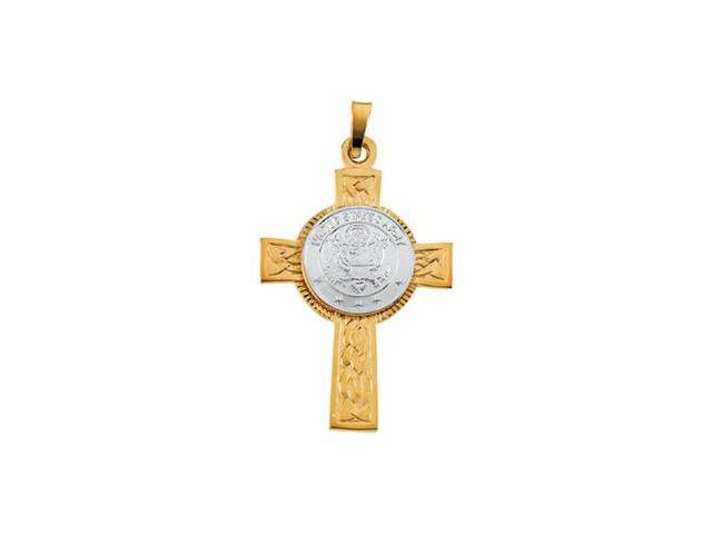 14K Yellow Gold With White Gold Two Tone Us Army Cross 28.50X20.75Mm