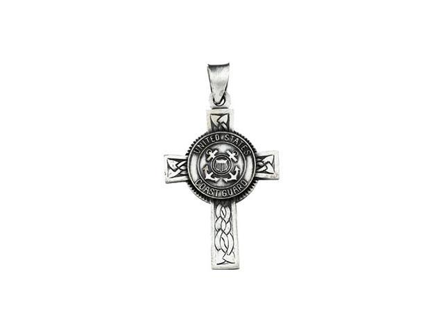 Sterling Silver Us Coast Gua Round Cross 28.5X20.75