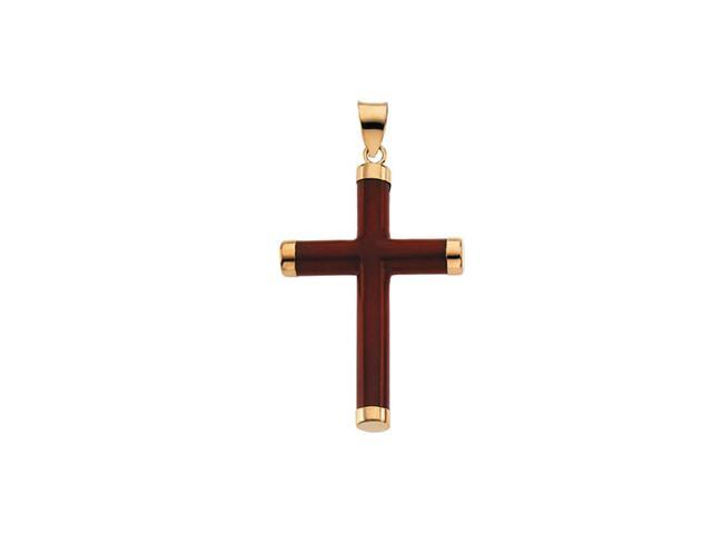 14K Yellow Gold Red Jade Round Cross 33.5X23.25