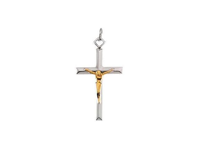 Sterling Silver And Gold Fill Two Tone Crucifix Pendant  10.1