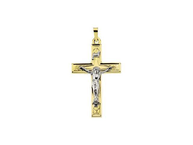 14K Yellow/White Gold Two Tone Crucifix Pendant