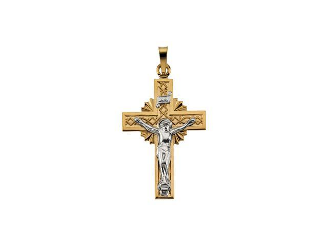 14K Yellow/White Gold Two-Tone Crucifix Pendant  2.3