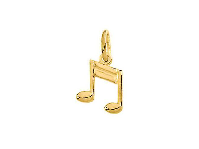 14K Yellow Gold Musical Note Charm 9.5X7.75