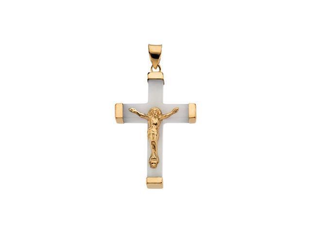 14K Yellow Gold White Jade Square Crucifix 33.75X23.75
