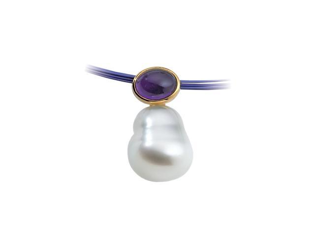14K Yellow Gold South Sea Cultured Pearl & Genuine Amethyst Pendant   0.5
