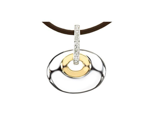 Sterling Silver & 14K Yellow Diamond Pendant On 18