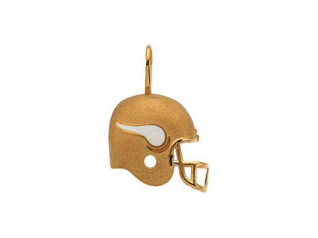 14K Yellow Gold Minnesota Vikings Helmet Pendant W/Enamel  2.1