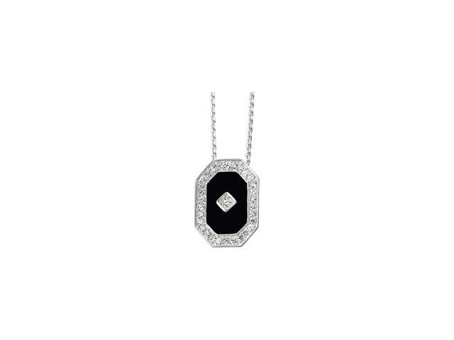 Sterling Silver Genuine Onyx And Cubic Zirconia Necklace 13.00X09.00 Mm