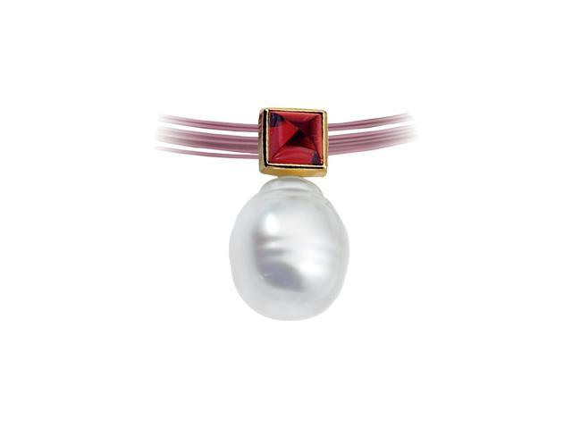 14K Yellow Gold South Sea Cultured Pearl & Genuine Rhodolite Garnet Pendant