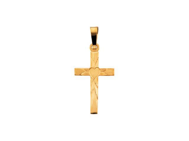 14K Yellow Gold Cross Pendant W/Heart