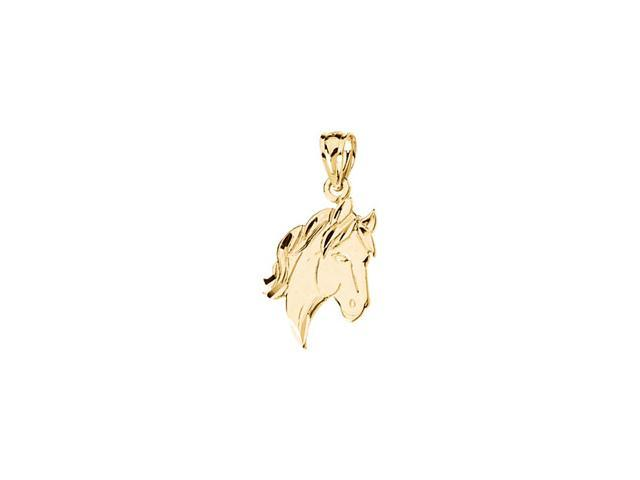 14K Yellow Gold Horse Head Pendant   0.9