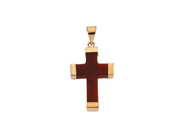 14K Yellow Gold Red Jade Square Cross 23.25X16.5