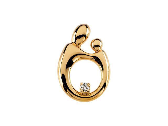 14K Yellow Gold Mother & Child Lg Diamond Pendant  2