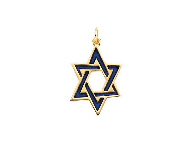 14K Yellow Gold Star Of David With Blue Enamel 23.75X17.50 Mm