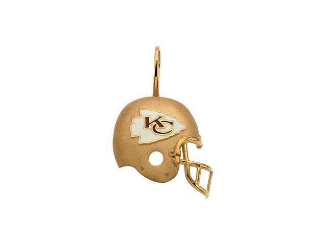 14K Yellow Gold Kansas City Chief'S Helmet Pendant W/Enamel  2.3