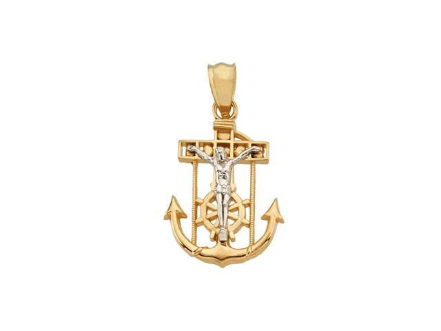 14K Yellow Gold With White Gold Two Tone Mariner'S Cross 27.50X23.00 Mm