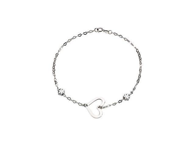 Sterling Silver Anklet W/Heart & Flowers 0 9. 0 0 Inch