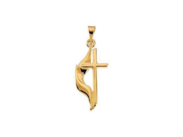 14K Yellow Gold Methodist Cross Pendant