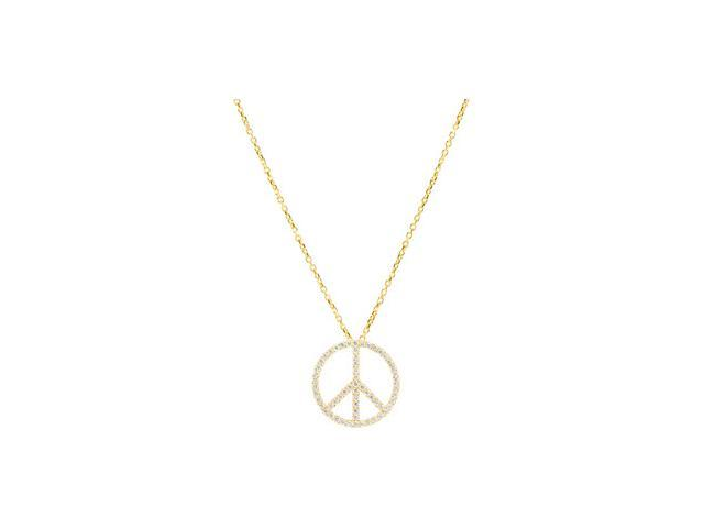 14K Yellow Gold Tiny Peace Sign Necklace 1/3 Ct Tw