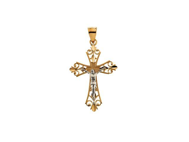 14K Yellow/White Gold Two Tone Crucifix Pendant  4.5