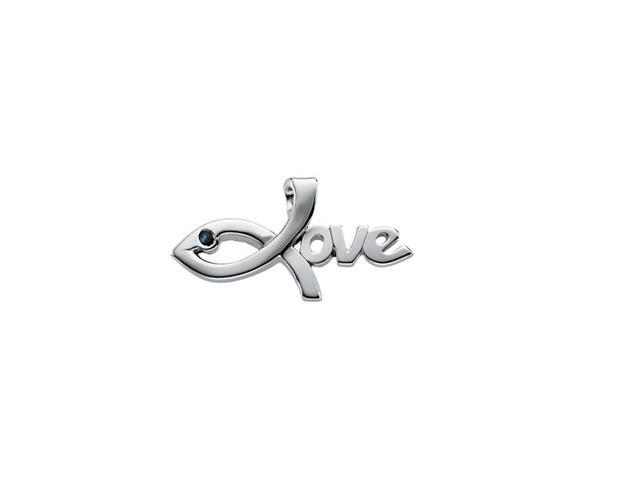 Sterling Silver Love Pendant With Sapphire  2.7