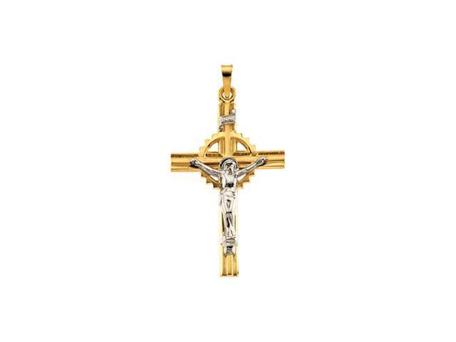 14K Yellow/White Gold Two Tone Crucifix Pendant  2.5