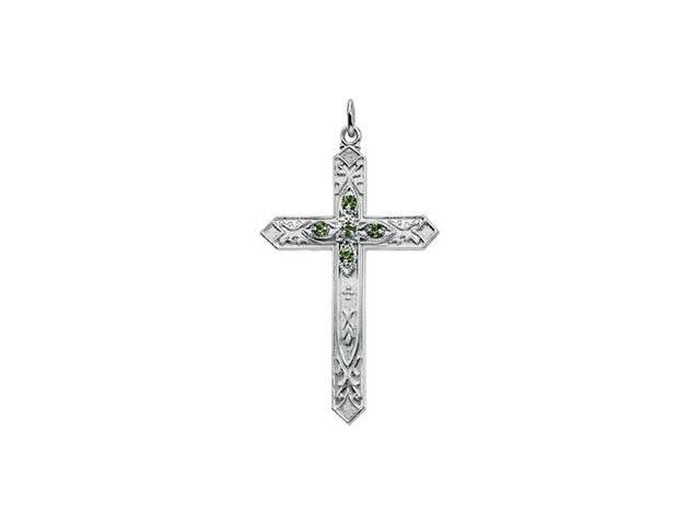 Sterling Silver Birthst One Cross August 34.75X22.50 Mm