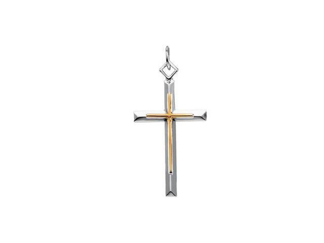 Sterling Silver And Gold Fill Two Tone Cross Pendant  9.6