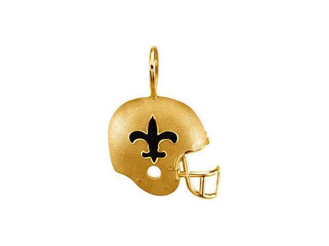 14K Yellow Gold New Orleans Saints Helmet Pendant W/Enamel  2.7