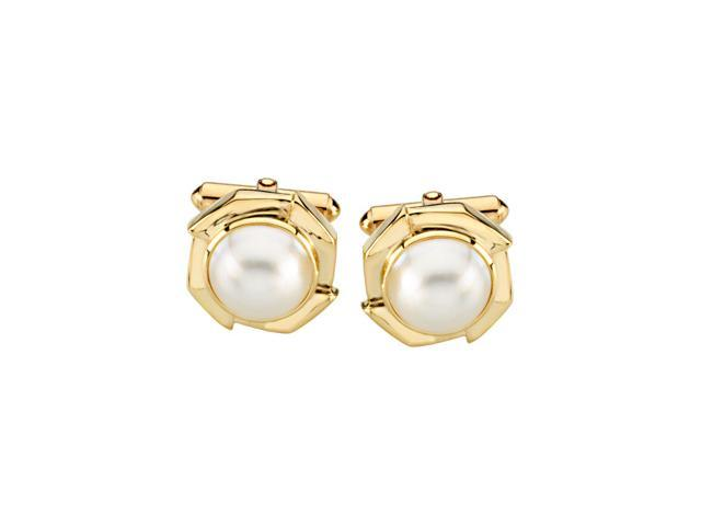 14K Yellow Gold Mabe' Cultured Pearl Cufflinks2. 0 0 Mm